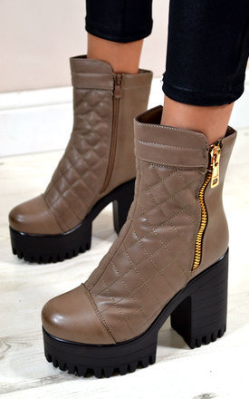 Jenny quilted chunky platform heel biker style ankle boots by NAOMISHU Product photo