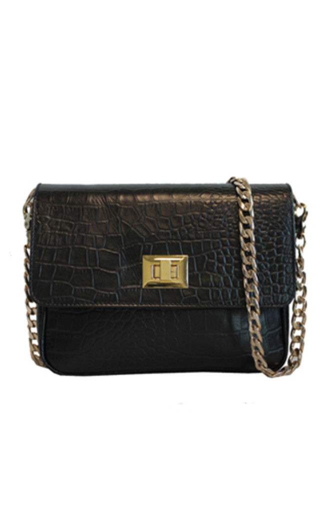 BLACK RETRO HANDBAG by THE CODE HANDBAGS