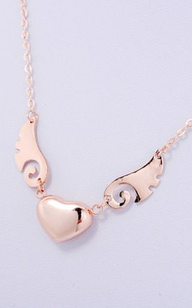 Gold wing & heart necklace by Emi Jewellery Product photo