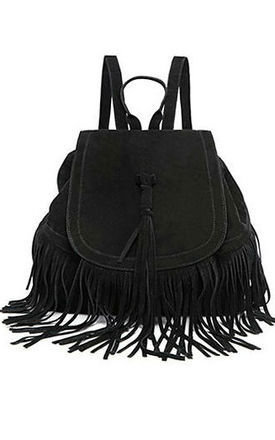 Black fringed backpack by THE CODE HANDBAGS Product photo