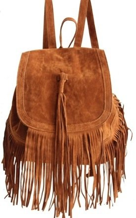 Camel fringed bakpack by THE CODE HANDBAGS Product photo