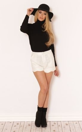 Riya scallop hem cream shorts by LullaBellz Product photo