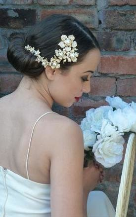 Gold flower daisy crystal pearl headdress bridal haircomb by 16 Braunton