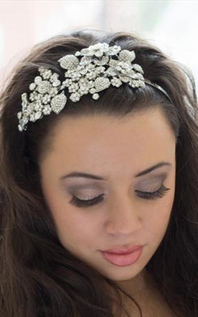 Bridal Flower leaf cluster crystal headband by 16 Braunton
