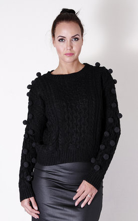 Black pom pom jumper by Liquorish Product photo