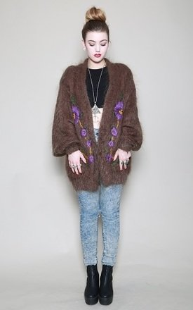 Dark brown mohair cardy by Silver Birch Product photo