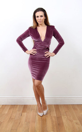 Kristen - long sleeved deep plunge midi bodycon dress by Sarvin Product photo