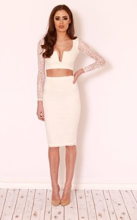 Cassie plunge lace top skirt set by LullaBellz Product photo