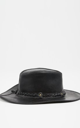 Leather Stetson Hat Black by Liquorish