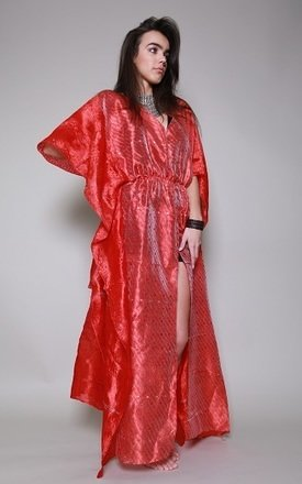 Coral kaftan dress by Silver Birch Product photo