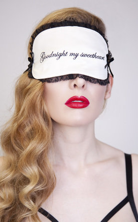 """Good Night My Sweetheart"" Ivory and Black Eye Mask by Playful Promises"