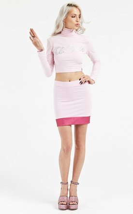 Pink glitter panel mini skirt by Illustrated People Product photo