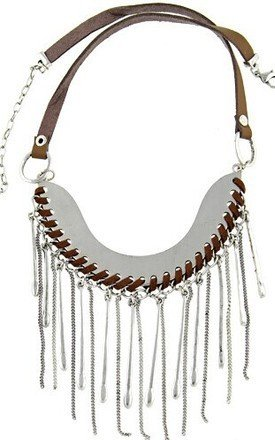 Faux leather plate necklace by Ruby Rocks Jewellery Product photo