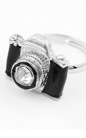 Black & silver camera ring by Emi Jewellery Product photo