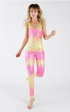 Ombre pink & yellow silver crackle catsuit by Tirade 13 Product photo