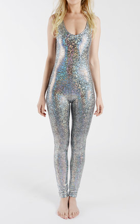 Silver Holographic Disco Mermaid Catsuit by Tirade 13