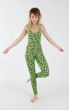 Neon green leopard print catsuit by Tirade 13 Product photo