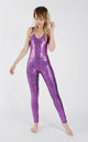 Backless Catsuit in Purple/Pink Holographic Disco Mermaid by Tirade 13