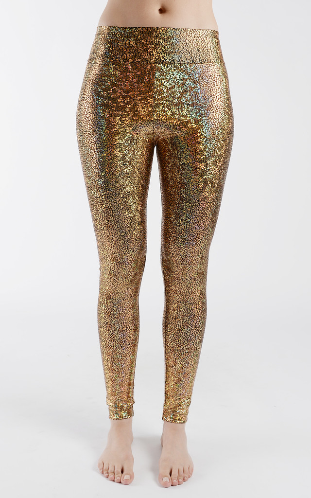 Gold Disco High Waisted Leggings by Tirade 13