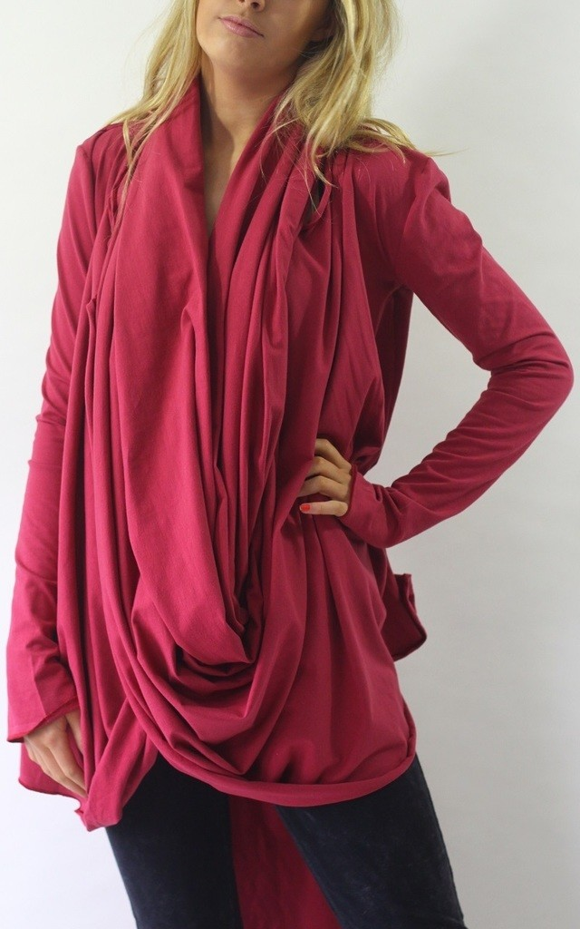 Harriet Red Wrap Front Tunic Top by LagenLuxe