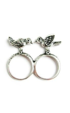 Silver double bird ring by Emi Jewellery Product photo