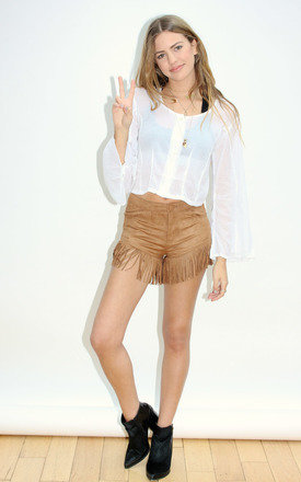 Tan fringe short by Never Fully Dressed Product photo