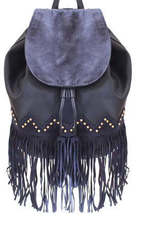 Navy backpack with fringing by Liquorish Product photo