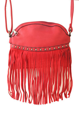 Red cross body fringed bag by Liquorish Product photo