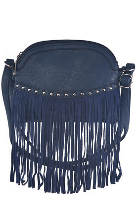 Petrol blue cross body fringed bag  by Liquorish Product photo
