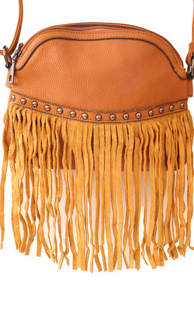 Brown cross body fringed bag by Liquorish Product photo