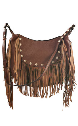 Brown fringed cross body bag with studs by Liquorish Product photo