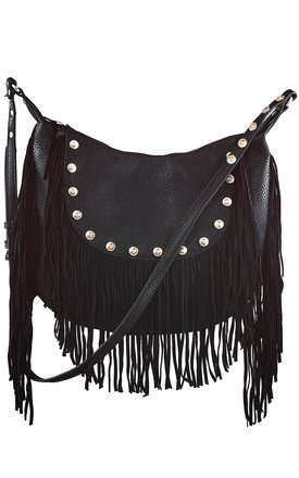 Black fringed cross body bag with studs by Liquorish Product photo