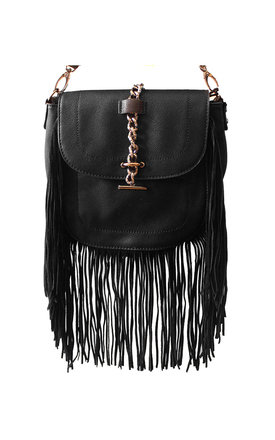 Black fringed cross body bag  by Liquorish Product photo