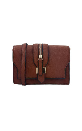 Brown clutch with front buckle detail and strap by Liquorish Product photo