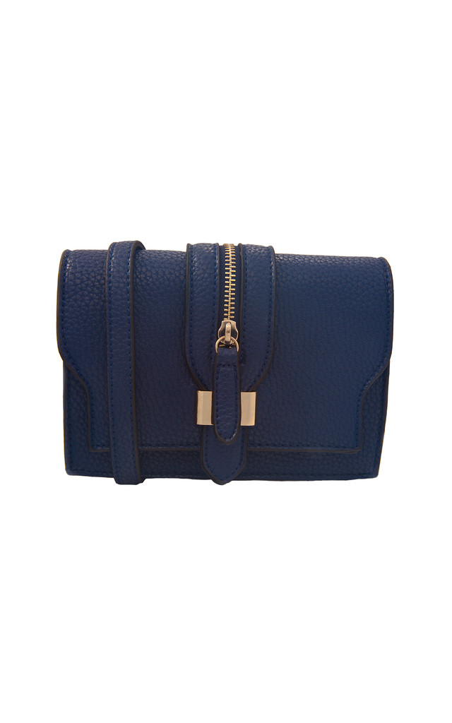 Blue Clutch With Front Buckle Detail and Strap by Liquorish
