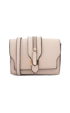 Ivory clutch with front buckle detail and strap by Liquorish Product photo