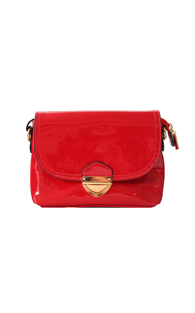 Patent Red Clutch With Metallic Buckle by Liquorish
