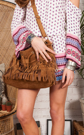 Festival tan tassle bag by Allegra Product photo