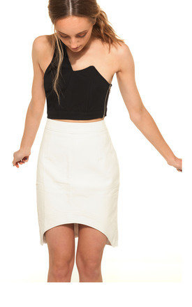 Half moon faux leather skirt by We Run This Product photo