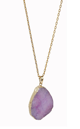 Gold Plated Purple Amethyst Crystal Pendant by Helix and Felix