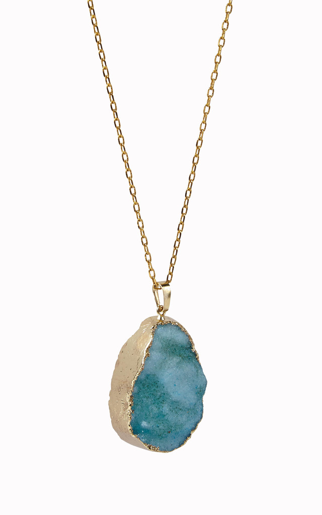 Gold Plated Turquoise Blue Crystal pendant by Helix and Felix
