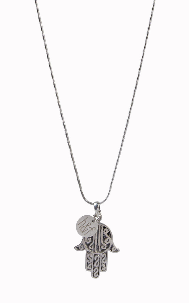 925 Sterling Silver Large Hamsa Hand Pendant by Helix and Felix
