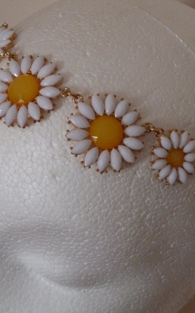 White sunflower chain headdress headband by 16 Braunton