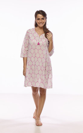 Nina block print summer dress - pink by La Mandarine Beachwear