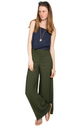 Block printed wide leg side split trouser green by likemary Product photo
