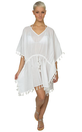 Tassel cotton kaftan white by likemary Product photo