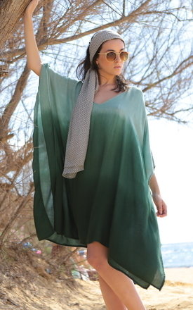 V-neck green ombre kaftan by likemary Product photo
