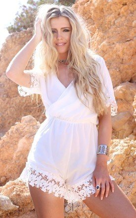 Leona white crochet playsuit by Dolly Rocka Product photo