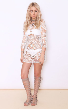 Morgan white lace crochet dress by Dolly Rocka Product photo