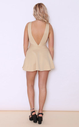 WILLOW CAMEL BACKLESS SKATER DRESS by Dolly Rocka